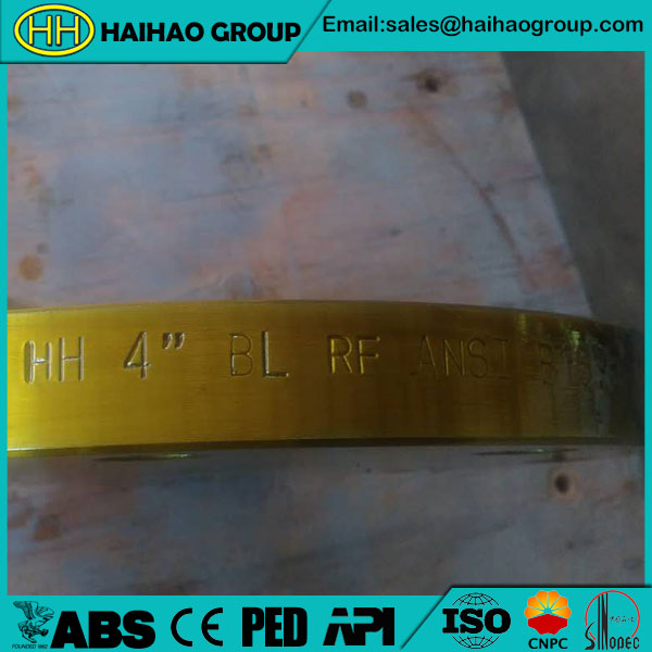 ASME B16.47 SER.A Class 400 4inch Yellow Zinc Plating Stainless Steel Blind Flange
