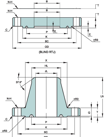 API-6A-STANDARD-FLANGE-DIMENSIONS-TYPE-6B-34.5-MPA-5000PSI