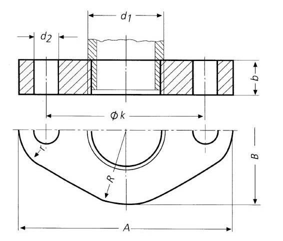 DIN-2558-PN6-Oval-Plain-Threaded-Flanges-Dimensions