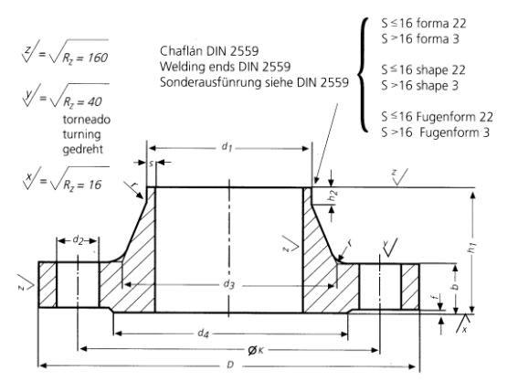DIN-2627-PN400-Welding-Neck-Flanges-Dimensions