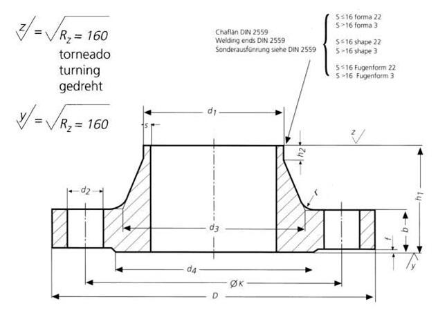 DIN-2636-PN64-Welding-Neck-Flanges-Dimensions