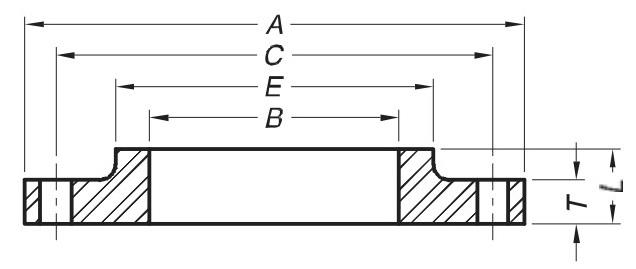 Dimesions-of-steel-hub-flanges-class-D-AWWA-C207