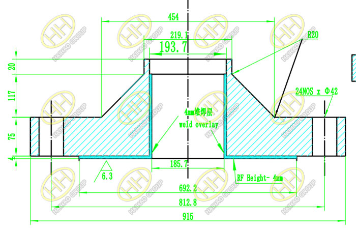 Drawing for customized overlay cladding flanges