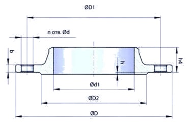 GOST-12821-80-welding-neck-flange-dimensions-PN40-4mpa