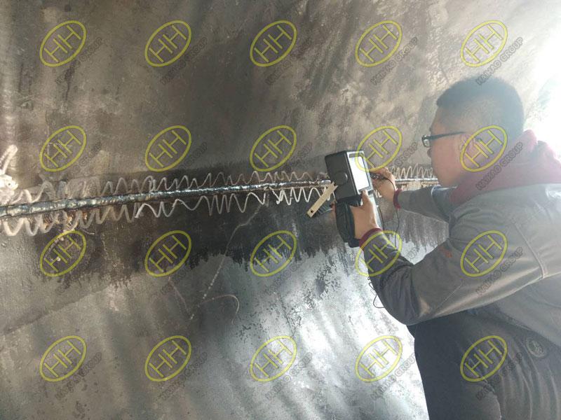 Ultrasonic nondestructive testing for large diameter 90 degree elbow welds