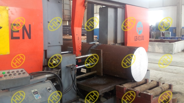 raw material steel cutting of rolled forged ring flange in haihao workshop